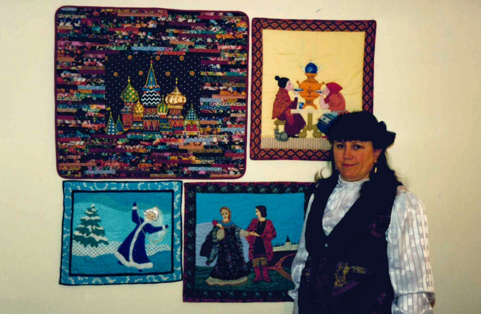 Jean Ameduri with Russian quilts